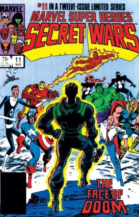Although for a while, Doom has a face again. Cover to Secret Wars #11